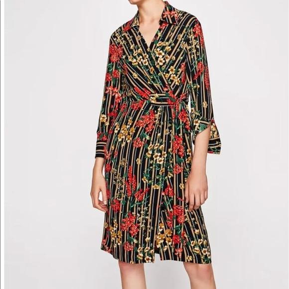 5766ebb7 Zara Dresses | Striped Floral Print Shirt Midi Dress Size Xs | Poshmark